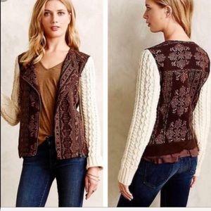 Anthropologie Lilka Brown Cream Sweater Jacket